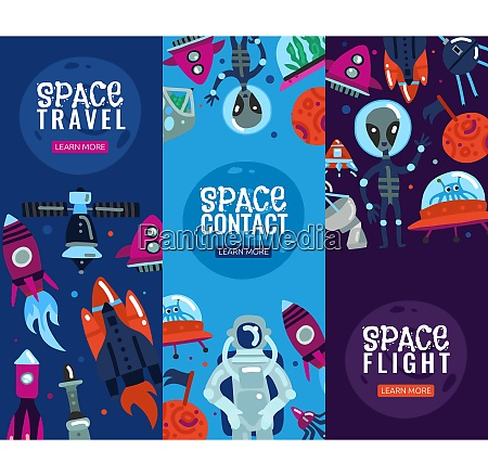 space travel vertical banners with rocket