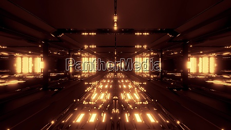 futuristic glowing scifi tunnel corridor with