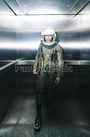 man posing dressed as an astronaut