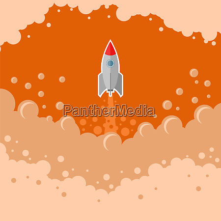 space, rocket, fly, on, red, bubble - 28045862