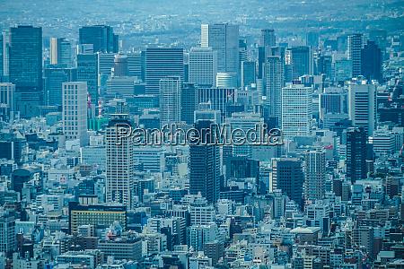osaka skyline from abenobashi terminal building