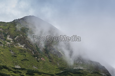foggy peak from a mountain while