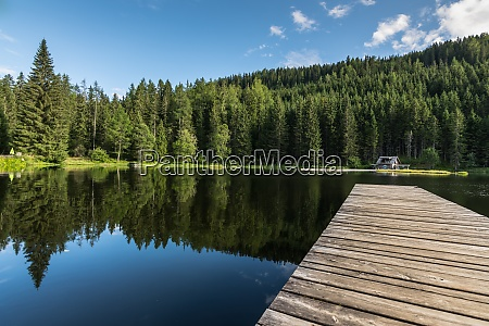reflecting pond with a wooden jetty