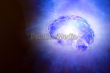 illustration of human brain and bright