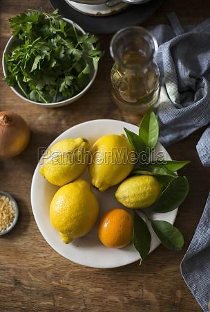 lemon orange and fresh herbs