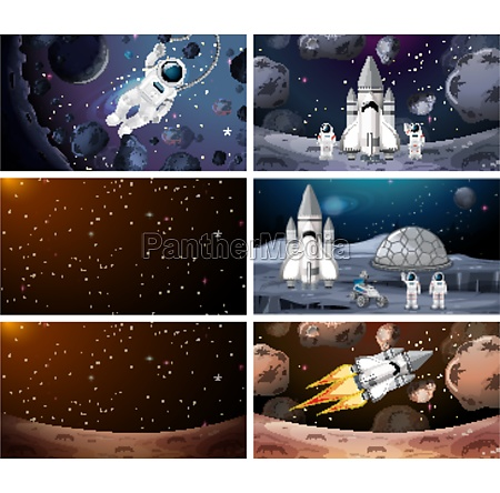 astronaut and rockets in space
