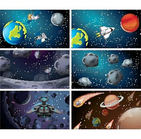 different space scenes