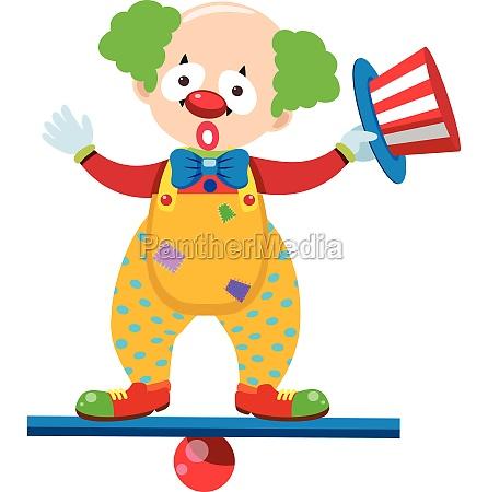 clown balancing on blue beam